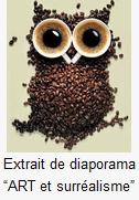 Chouette en grains de café