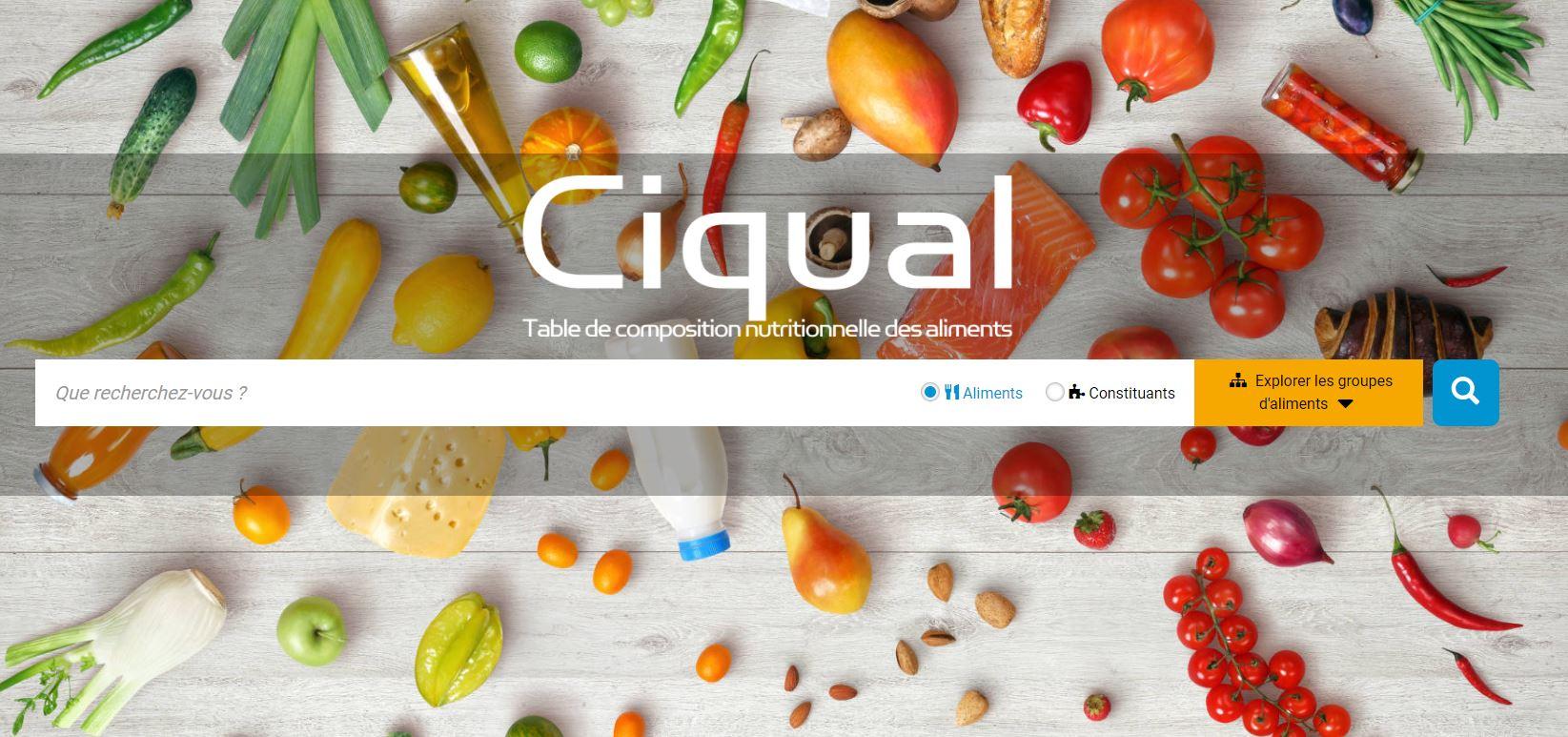 CIQUAL - Table de composition nutritionnelle des aliments
